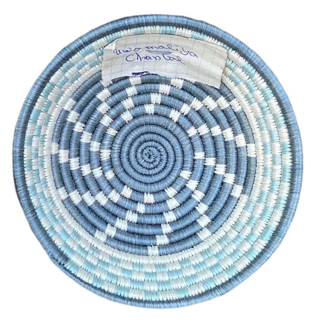sisal basket from rweanda, light blue, turquoise, white, French blue