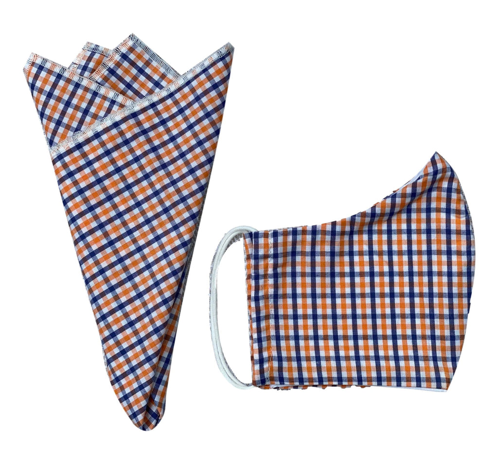 Pocket Square + Mask Gift Set- Blue/Orange