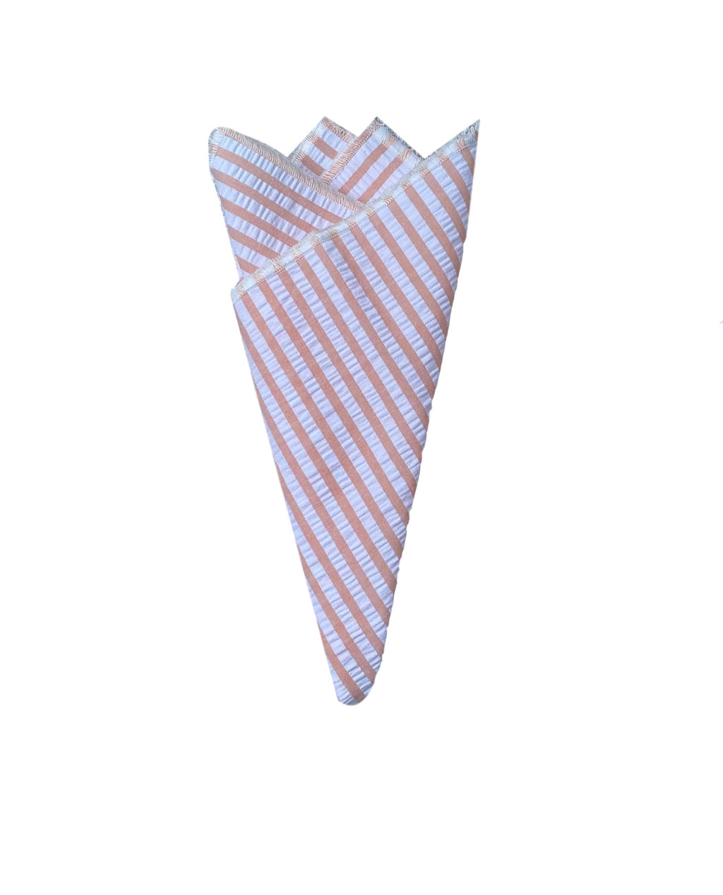 Pocket Square- Peach Seersucker