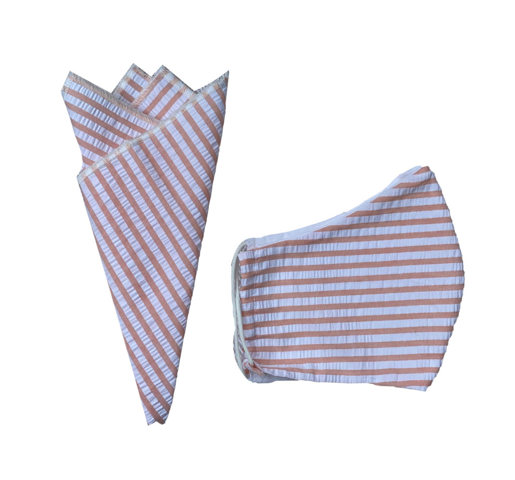 Pocket Square + Mask Gift Set- Peach Seersucker