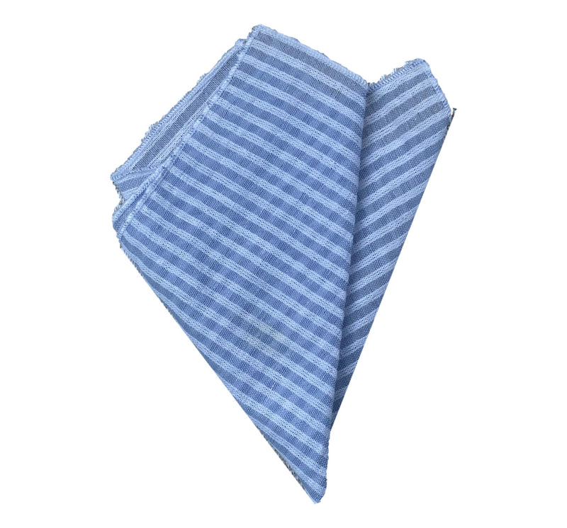 Pocket Square- Blue Seersucker