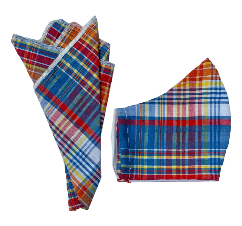 Pocket Square + Mask Gift Set- Madras