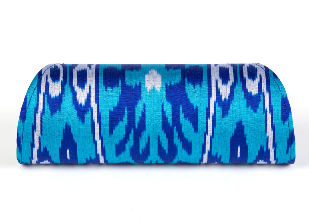 """Mykonos"" Silk Ikat Hard Shell Clutch, Large, in Royal blue, and Turquoise"