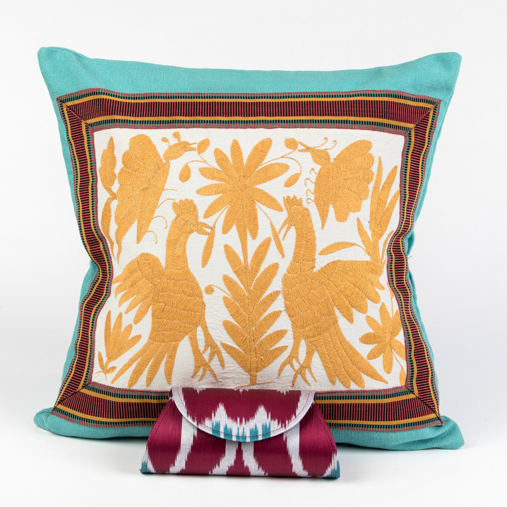 """Hidalgo"" Otomi Pillow, Maize Yellow Textile, Turquoise Fabric"