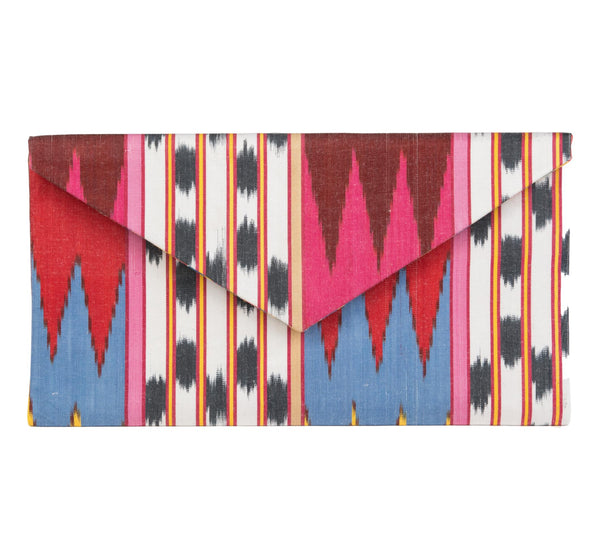 """Alice"" Silk Ikat Envelope Clutch, Large"