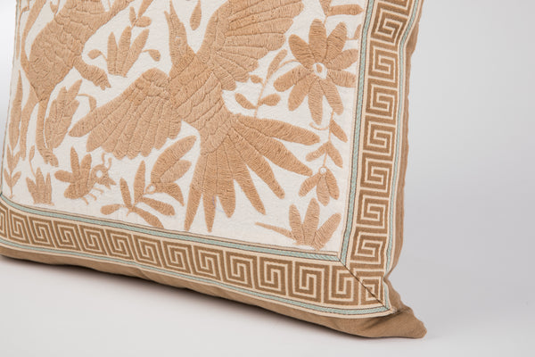 """Lucas"" Otomi Pillow, Beige with Greek Key Tape Trim"
