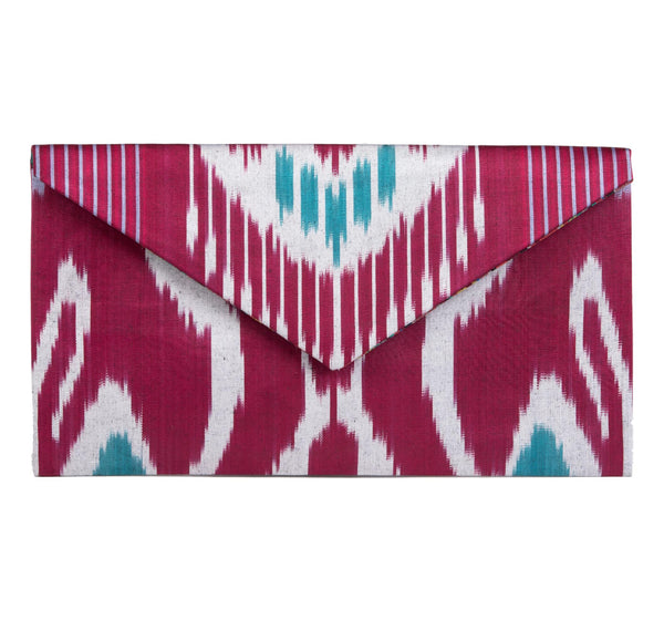"""Bryant"" Silk Ikat Envelope Clutch, Large"