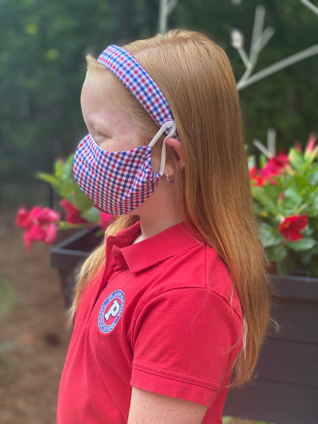 Headband + Mask Set- Red, White, Blue Gingham