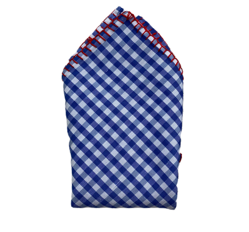 Pocket Square-Gingham, Blue and White with Red Stitching