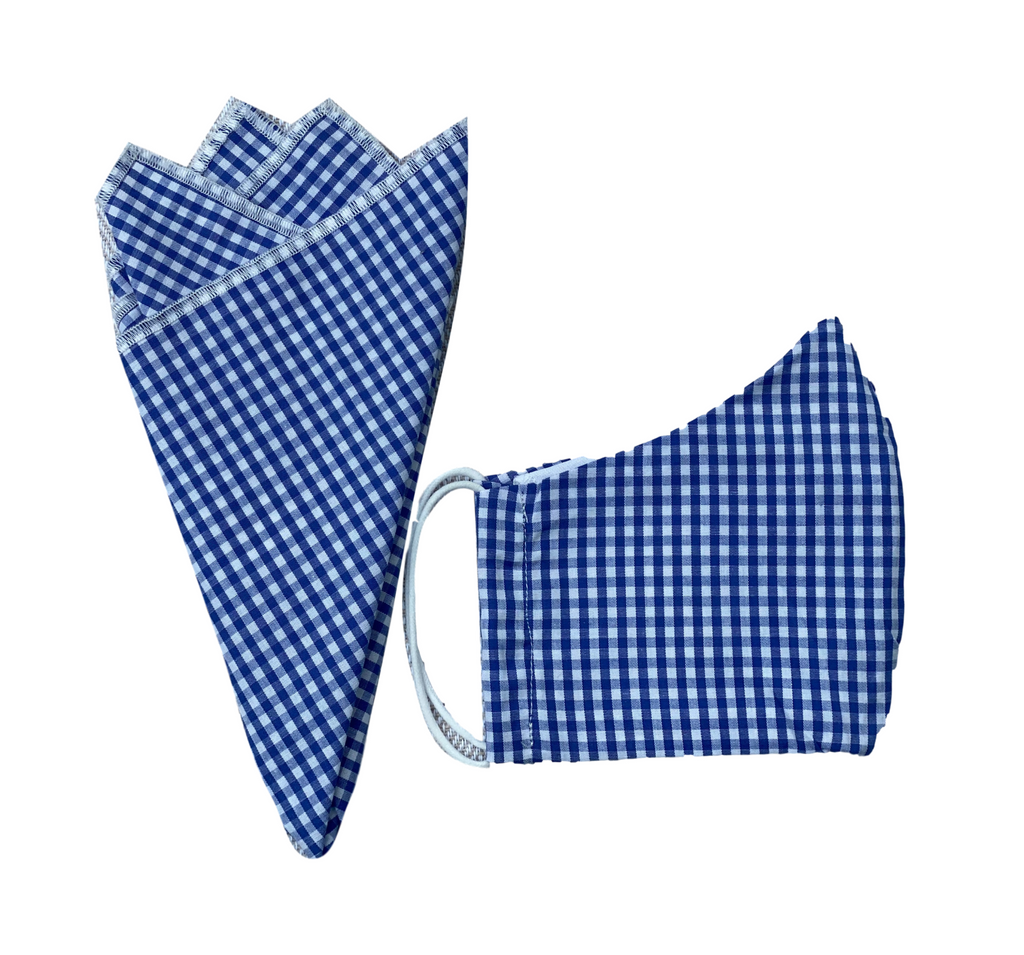 Pocket Square + Mask Gift Set- Blue Gingham