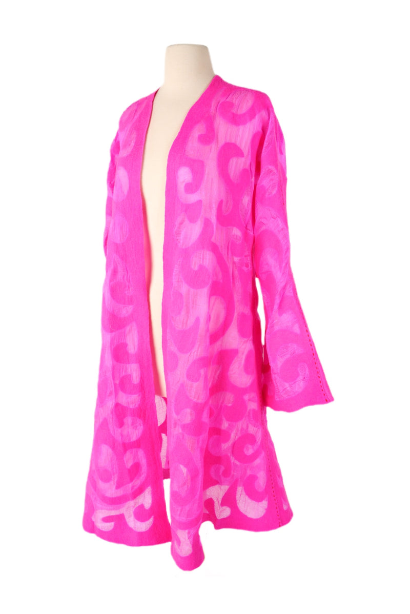 Long Sleeve Felted Wool Coat - Bright Pink