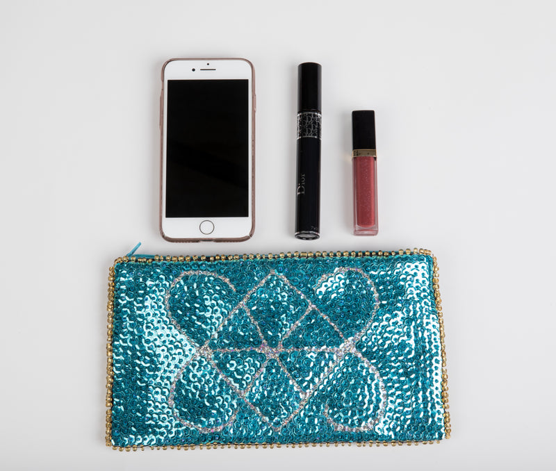 Ayizan Beaded Clutch from Haiti - Turquoise, Silver, Gold