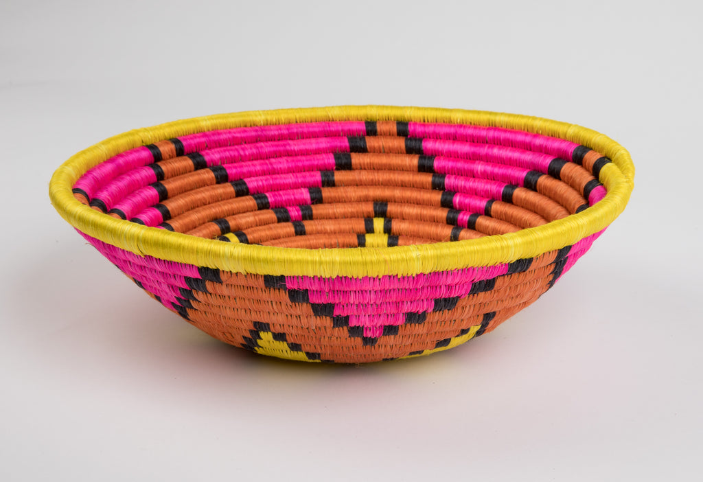 Joy Basket in Bright Pink and Yellow, Large
