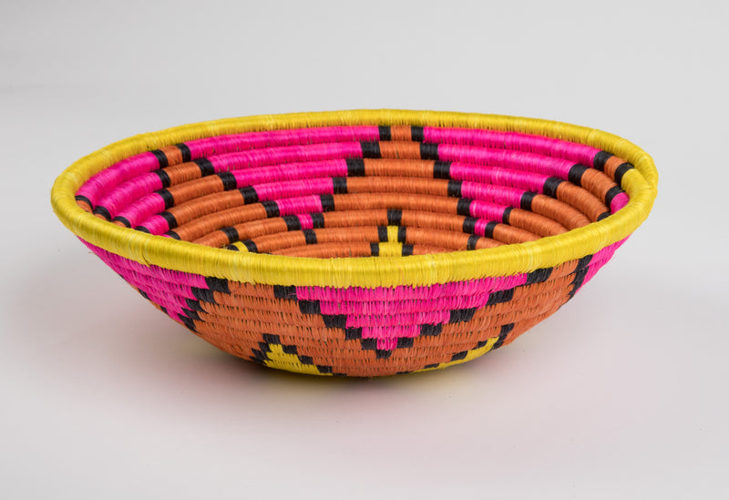Joy Basket in Bright Pink and Yellow