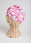 Kitty Silk Ikat Head Scarf, Pink and White