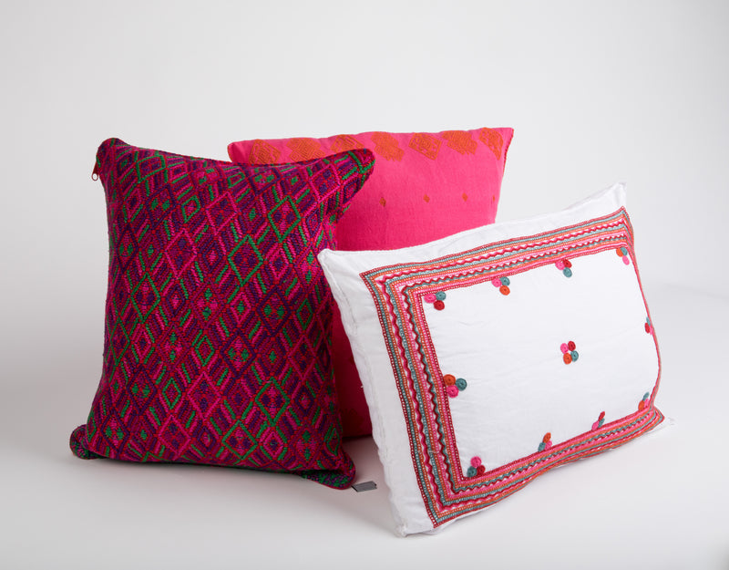 Cerros Mexican Pillow, Pink and Orange