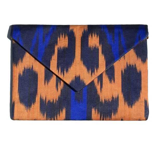 """Hayfields"" Silk Ikat Envelope Clutch"