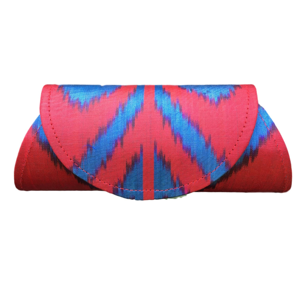 """Rowan"" Bow Tie in Silk Ikat - Red and Blue"