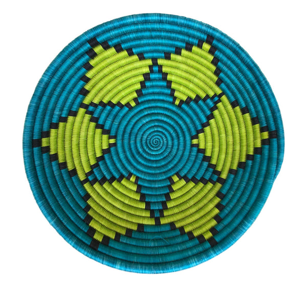 """Joy Basket"" from Rwanda in Turquoise, Lime Green, and Black"