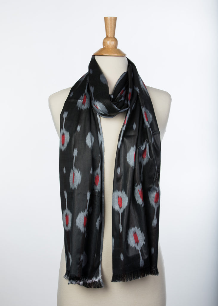 """Sanford""  Silk Ikat Scarf in Black and Red"
