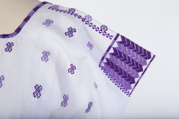 """Carmen"" Blouse from Mexico, White and Purple"