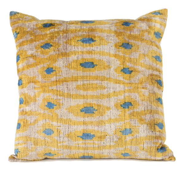 """Bonneval"" Silk Velvet Ikat Pillow"