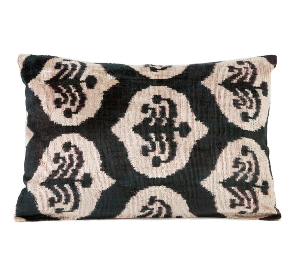 Hand dyed and hand loomed in Uzbekistan, silk velvet ikat pillow in black and white