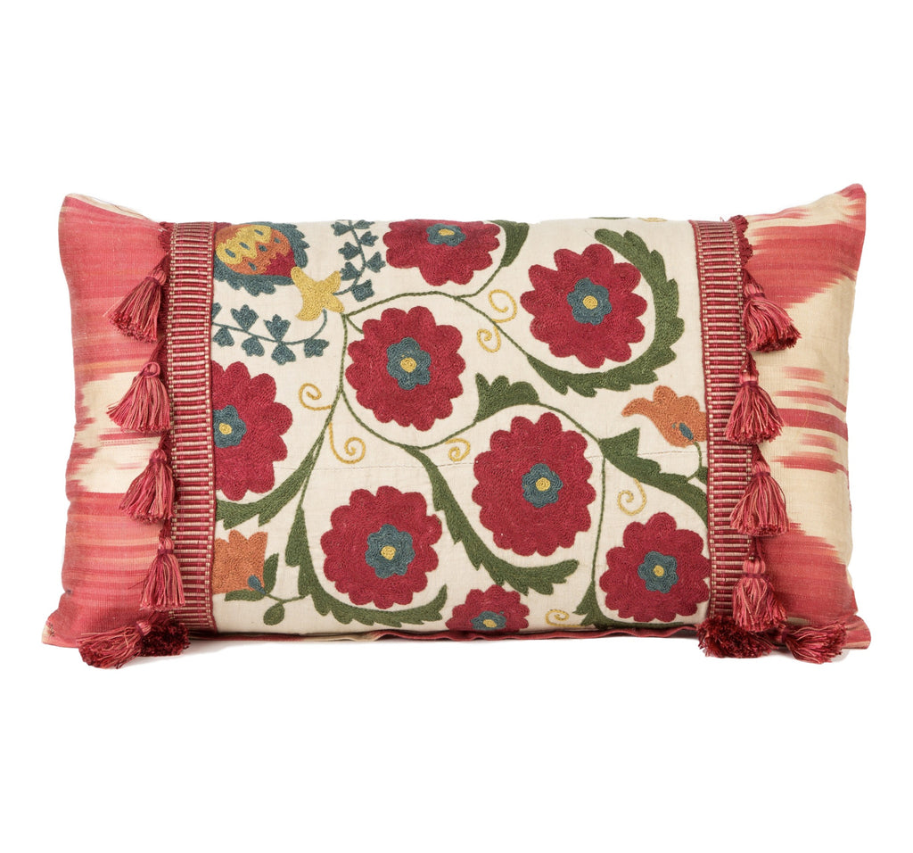 """Collioure"" Antique Suzani and Silk Ikat Pillow"