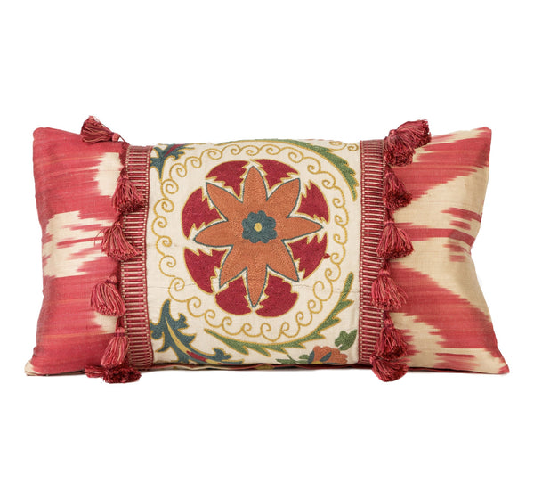 """Rochefort-en-Terre"" Suzani and Silk Ikat Pillow"