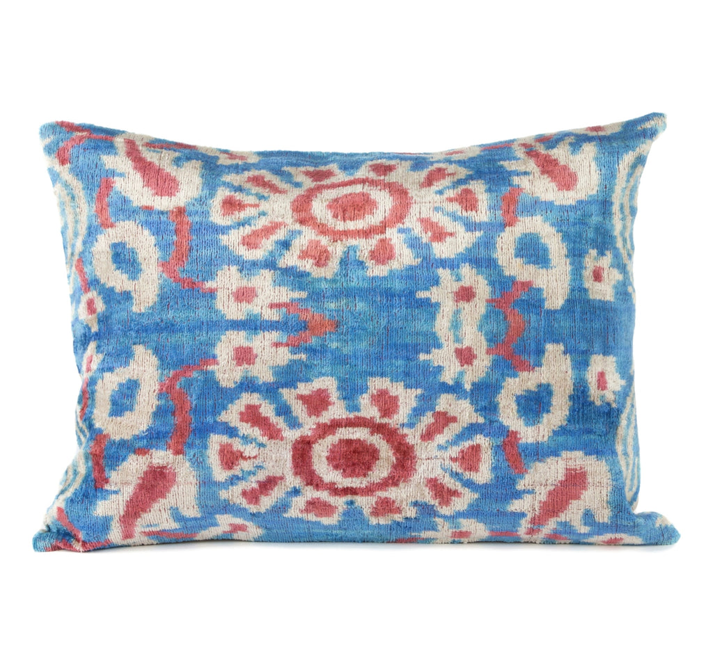 Beynac Silk Velvet Ikat Pillow