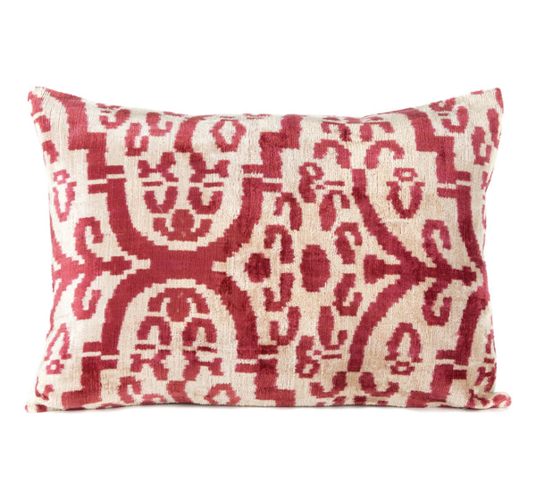 """Glamis"" Silk Velvet Ikat Pillow"