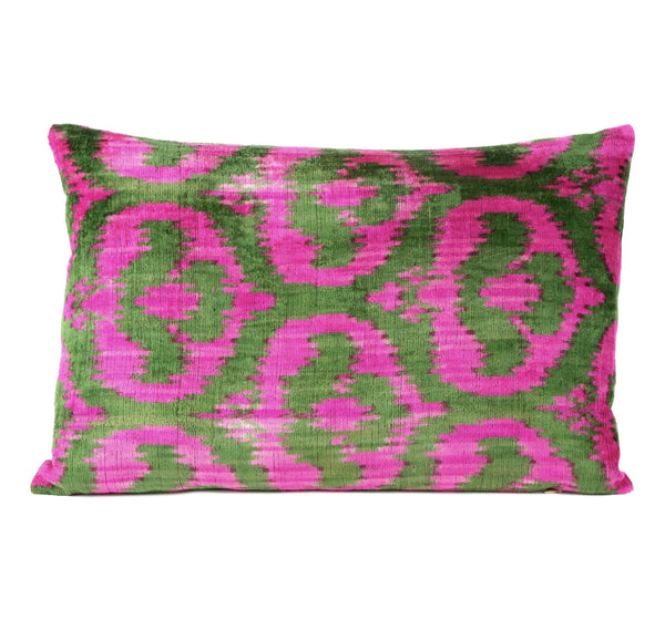 """Apremont"" Silk Velvet Ikat Pillow"