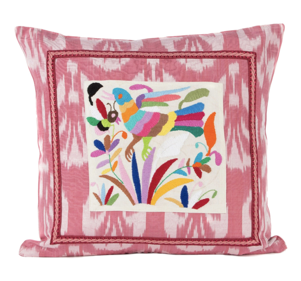 """Nahua"" Silk Ikat and Otomi Pillow"