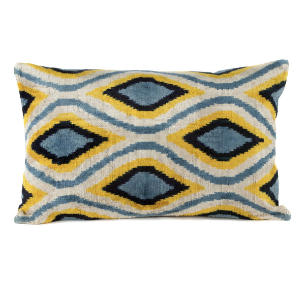 """Annecy"" Silk Velvet Ikat Pillow"