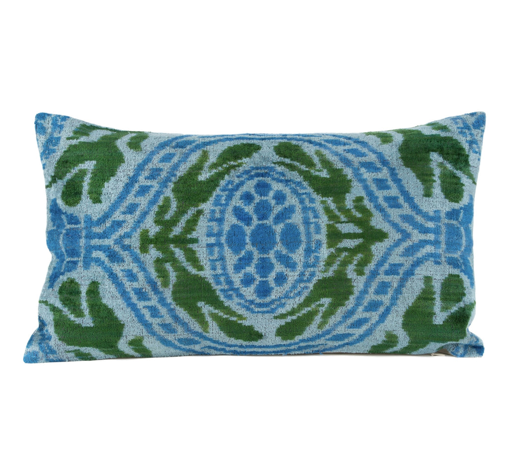 """Helaine"" Silk Velvet Ikat Pillow"