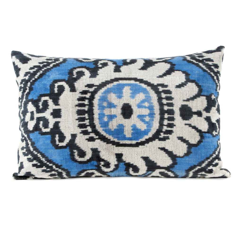 """Camargue"" Silk Velvet Ikat Pillow"