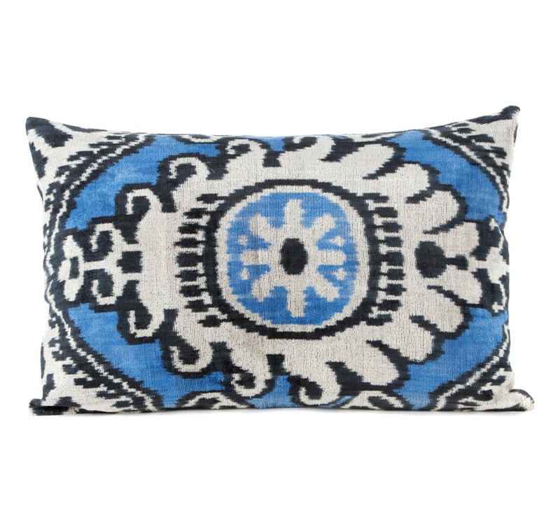 Camargue Silk Velvet Ikat Pillow