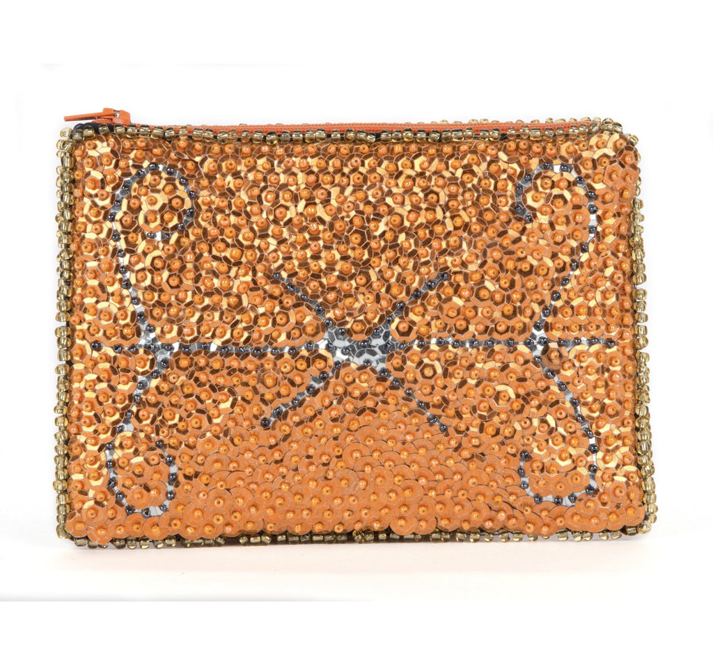 """Baron Samedi"" Beaded Evening Clutch in Tangerine"