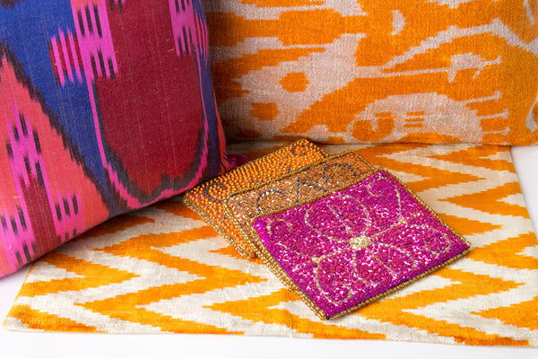 """Barcelo"" Velvet Ikat Pillow"