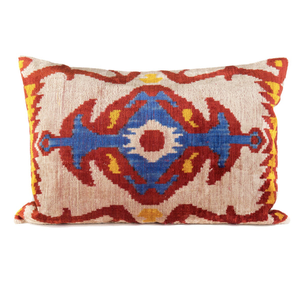 """Cazenac"" Silk Velvet Ikat Pillow"