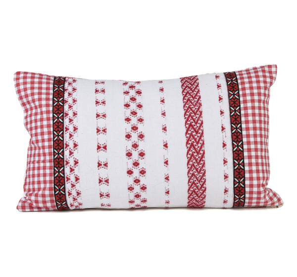 """Feliciano"" Guatemalan Textile Pillow with Black and Red Tape Trim"