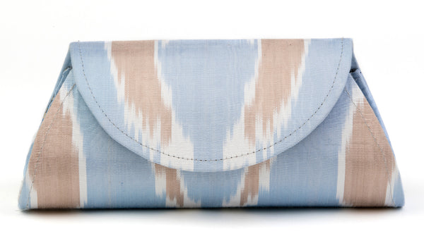 Silk Ikat Hard Shell Clutch, Small, Light Blue and Brown