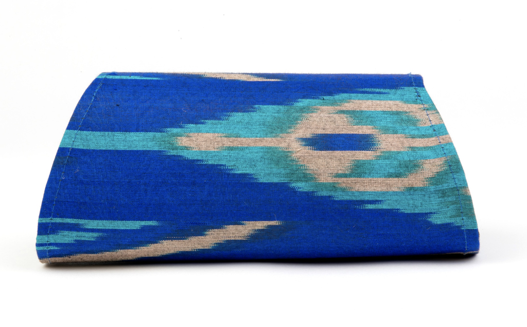 """Dorset"" Silk Ikat Hard Shell Clutch, Small, in Royal blue, turquoise and grey"
