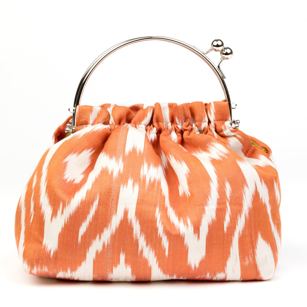 """Carnon"" Party Purse in Silk Ikat - Orange and Ivory"