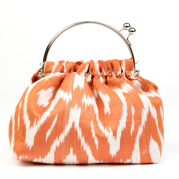 Party Purse in Silk Ikat - Orange and Ivory