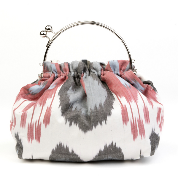 """Otranto"" Party Purse in Red, Black and White Silk Ikat"