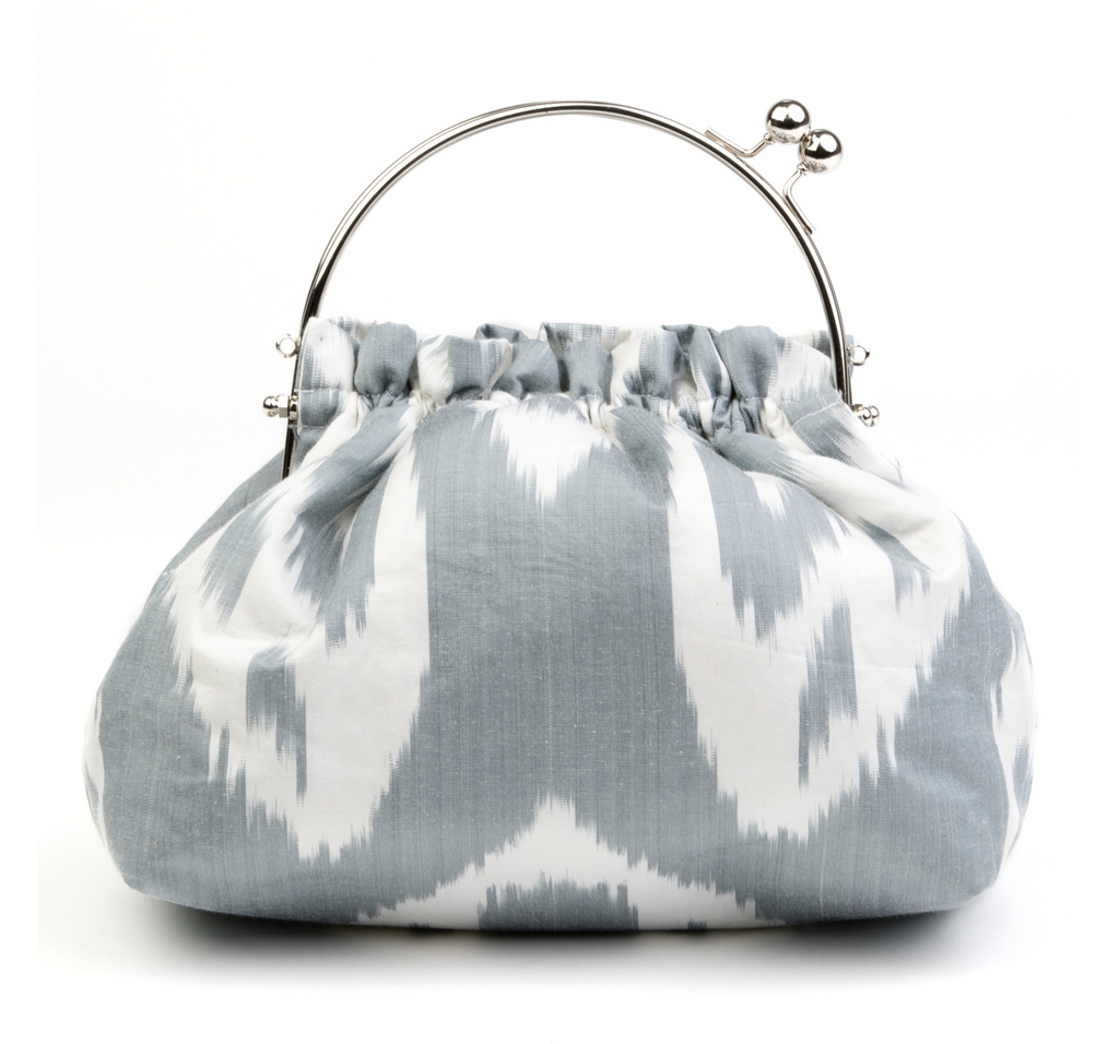 """Keswick"" Party Purse in Grey and White Silk Ikat"