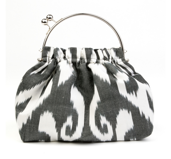 """Ladue"" Party Purse in Black and White Silk Ikat"
