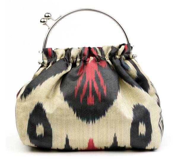 """Avila"" Party Purse in Red and Black Silk Ikat"