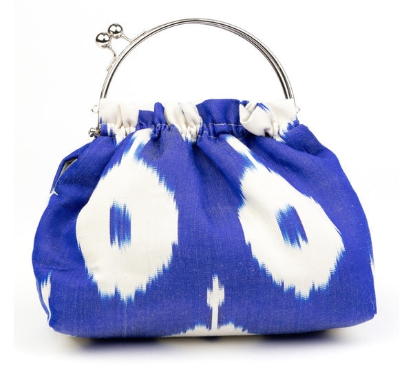 """Oxford"" Party Purse in Cobalt Blue and White Silk Ikat"